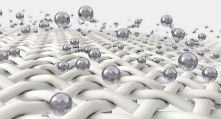 An extreme magnification of white individual fabric threads being penetrated by silver molecules on an isolated background