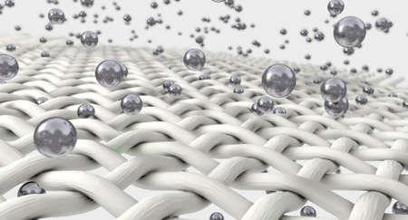 Una ampliación extrema de blancos hilos de tela individuo que está siendo penetrada por moléculas de plata en un fondo aislado