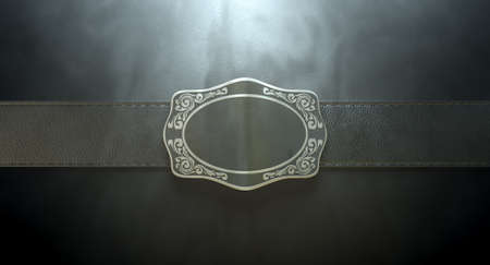 straps: A seamed leather belt threaded through an ornate cast iron belt buckle on an isolated background