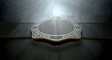 girdle: A seamed leather belt threaded through an ornate cast iron belt buckle on an isolated background