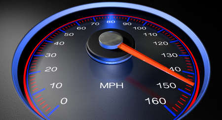 mile: A regular speedometer with glowing red edges and a red needle pointing towards a high speed on an isolated black background