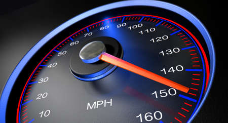 A regular speedometer with glowing red edges and a red needle pointing towards a high speed on an isolated black background