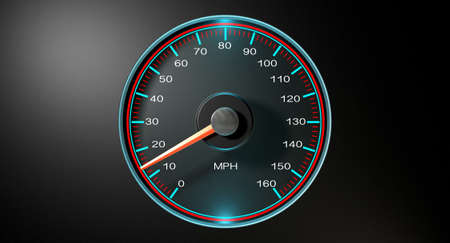 mph: A regular speedometer with glowing blue edges and a red needle pointing towards a low speed on an isolated black background