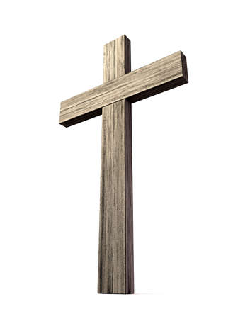 lumber: A wooden crucifix or cross made of thick lumber on an isolated background Stock Photo