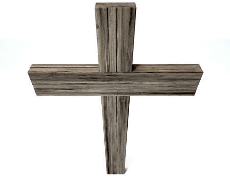 wooden cross: A wooden crucifix or cross made of thick lumber on an isolated background Stock Photo