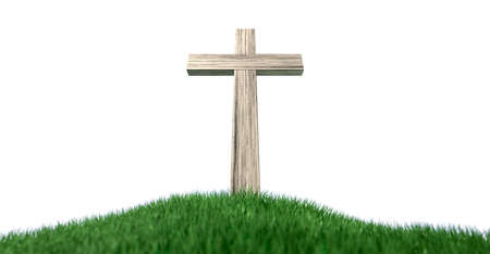 hill top: A wooden crucifix on top of a green grassy hill on an isolated white background