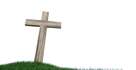 wooden cross: A wooden crucifix on top of a green grassy hill on an isolated white background