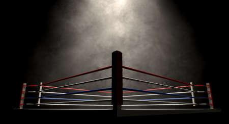 Eine regelmäßige Boxring mit Seilen spotlit in der Rakete umgeben auf einem isolierten dunklen Hintergrund