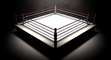 Een regelmatige boksring omgeven door touwen spotlights in de raket op een afgelegen donkere achtergrond