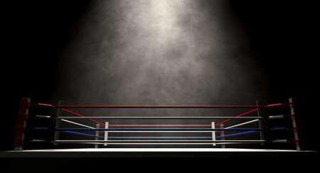 cerillos: Un ring de boxeo normal rodeado de cuerdas spotlit en el misil en un fondo oscuro aislado Foto de archivo