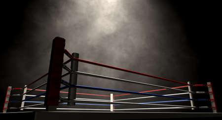 Eine regelmäßige Boxring durch Seile spotlit im missle umgeben auf einem isolierten dunklen Hintergrund Lizenzfreie Bilder