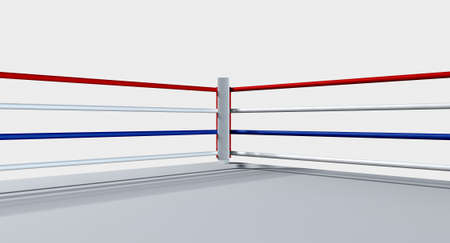 A regular boxing ring surrounded by ropes on an isolated white background photo