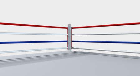 regular: Un anello di pugilato regolare circondato da corde su uno sfondo bianco isolato