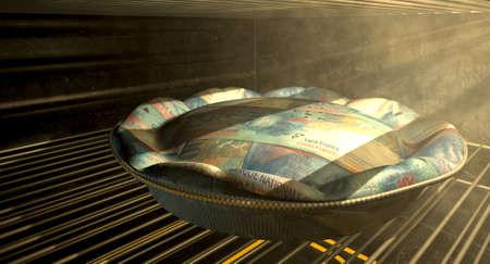 frank szwajcarski: Zbliżenie pojęcie ciasto wykonane z pieniędzy Frank szwajcarski banknotów pieczenia w piecu ogrzewanym