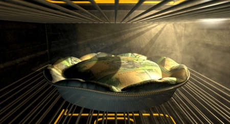 quota: A closeup concept of a money pie made with Australian Dollar bank notes baking in a heated oven Stock Photo
