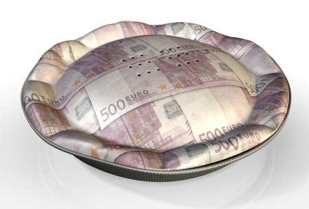 crimped: A perspective view concept of a regular baked pie with crimped edges made out of Euro bank notes on an isolated background