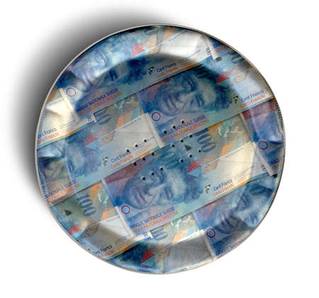 crimped: A perspective view concept of a regular baked pie with crimped edges made out of Swiss Franc bank notes on an isolated background