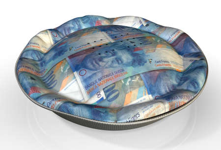 swiss franc note: A perspective view concept of a regular baked pie with crimped edges made out of Swiss Franc bank notes on an isolated background