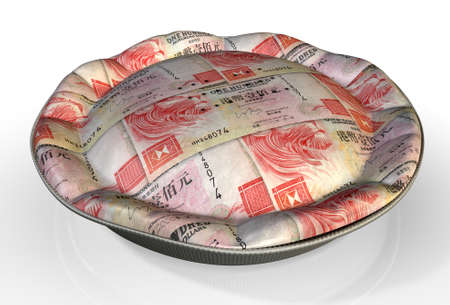 crimped: A perspective view concept of a regular baked pie with crimped edges made out of Hong Kong Dollar bank notes on an isolated background