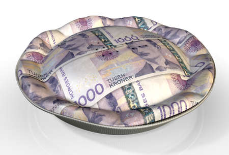 quota: A perspective view concept of a regular baked pie with crimped edges made out of Norwegian Kronor bank notes on an isolated background