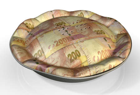 crimped: A perspective view concept of a regular baked pie with crimped edges made out of South African Rand bank notes on an isolated background Stock Photo