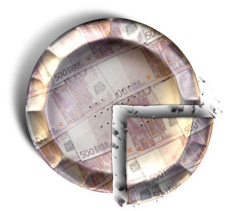 crimped: A top view concept of a sliced section of a regular baked pie with crimped edges made out of Euro bank notes on an isolated background