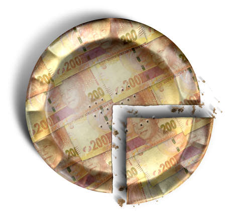 A top view concept of a sliced section of a regular baked pie with crimped edges made out of South African Rand bank notes on an isolated background photo