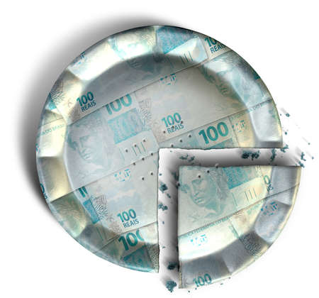 crimped: A top view concept of a sliced section of a regular baked pie with crimped edges made out of Brazilian Real bank notes on an isolated background