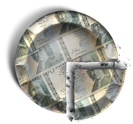 crimped: A top view concept of a sliced section of a regular baked pie with crimped edges made out of Swedish Kronor bank notes on an isolated background