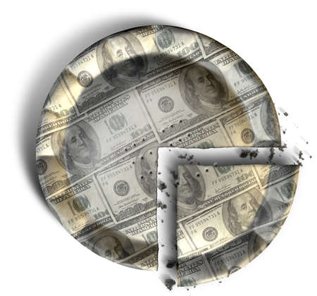 crimped: A top view concept of a sliced section of a regular baked pie with crimped edges made out of US Dollar bank notes on an isolated background