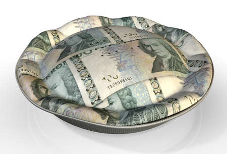 allocation: A perspective view concept of a regular baked pie with crimped edges made out of Swedish Kronor bank notes on an isolated background