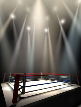 boxing sport: A regular boxing ring surrounded by ropes spotlit by various lights on an isolated dark background