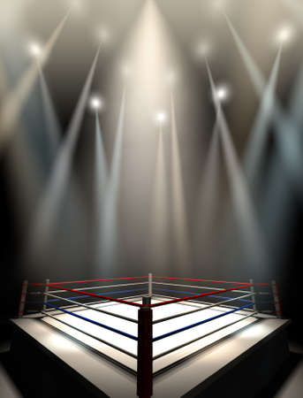 boxing match: A regular boxing ring surrounded by ropes spotlit by various lights on an isolated dark background