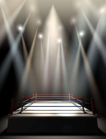 match: Eine regelmäßige Boxring mit Seilen durch verschiedene Lichter spotlit umgeben auf einem isolierten dunklen Hintergrund
