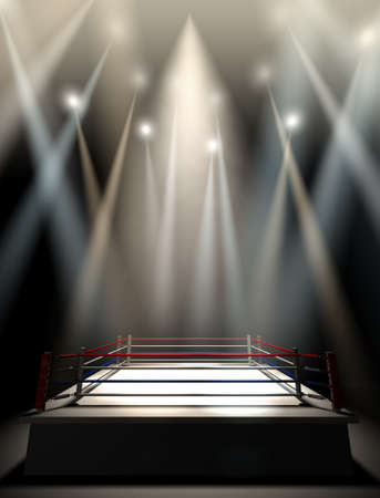 cerillas: Un ring de boxeo normal rodeado de cuerdas spotlit por varias luces sobre un fondo oscuro aislado Foto de archivo