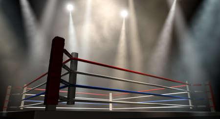 Un ring de boxeo normal rodeado de cuerdas spotlit por varias luces sobre un fondo oscuro aislado