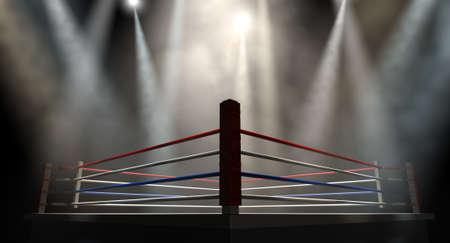 Een regelmatige boksring omgeven door touwen spotlight is gericht op verschillende lichten op een afgelegen donkere achtergrond