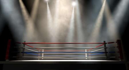 Eine regelmäßige Boxring mit Seilen durch verschiedene Lichter spotlit umgeben auf einem isolierten dunklen Hintergrund