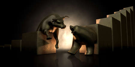 An abstract closeup of two gold cast statuettes depicting a stylized bull and a bear in dramatic contrasting light representing a financial market trends on an isolated dark background