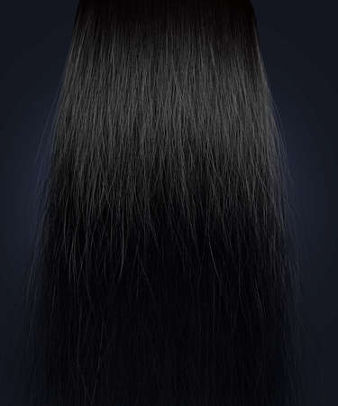 A perfect symmetrical view of a bunch of frizzy unkempt black hair on an isolated background photo