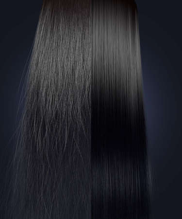 A perfect symmetrical view of a bunch of black hair split in two showing a frizzy unkempt side compared to a straight neat side on an isolated background
