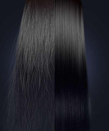 textura pelo: Una visión simétrica perfecta de un montón de pelo negro dividida en dos que muestra un lado muy rizado despeinado en comparación a un lado aseada recta sobre un fondo aislado