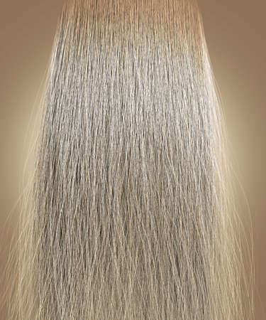 A perfect symmetrical view of a bunch of frizzy unkempt blonde hair on an isolated background