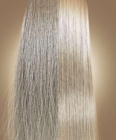 Une vue parfaitement symétrique d'un tas de cheveux blonds divisée en deux montrant un côté hirsute crépus par rapport à un côté droite et nette sur un fond isolé