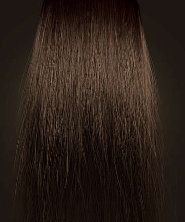 frizz: A perfect symmetrical view of a bunch of frizzy unkempt brown hair on an isolated background Stock Photo