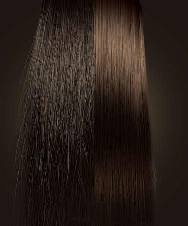 lineas rectas: Una visión simétrica perfecta de un montón de división pelo castaño en dos muestra un lado muy rizado despeinado en comparación con el lado limpio recta sobre un fondo aislado