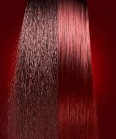 Een perfect symmetrisch beeld van een bos van rode haren splitsing in twee tonen van een kroeshaar onverzorgd kant in vergelijking met een rechte nette kant op een geïsoleerde achtergrond Stockfoto