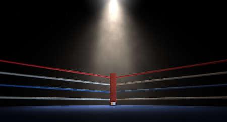 Een close-up van de rode hoek van een regelmatige boksring omgeven door touwen spotlight is gericht op een schijnwerper op een afgelegen donkere achtergrond Stockfoto