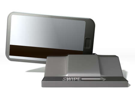 A credit card  with the graphic of a smartphone on it inserted in the mechanism of a point of purchase pay point signifying cell phone payment systems on an isolated white studio background photo