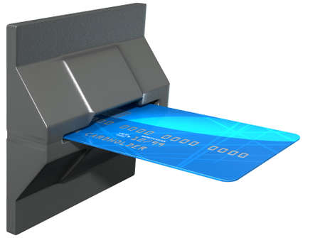 A regular generic credit card inserted in the mechanism of a point of purchase pay point on an isolated white studio background photo
